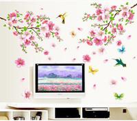 3d kuş duvar dekor toptan satış-Şeftali ağacı Kelebek Çıkartması Pembe Bahar Çiçek Kuşlar Duvar Sticker PVC Çiçek Odası Dekor