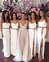 gelinlik için yan kanatçıklar toptan satış-Basit 2017 Afrika Ucuz Beyaz Gelinlik Modelleri Spagetti Sapanlar Sashes Yan Bölünmüş Saten Artı Boyutu Uzun Hizmetçi Onur Düğün Konuk Elbise