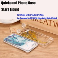 Wholesale Star S4 Phone - New Hot selling Samsung s6 edge case luxury glitter stars dynamic liquid quicksand phone case cover 3D Moving Star for S4 S5 Note 2 3 4 DHL