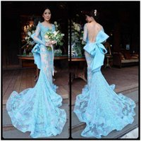 Wholesale Evenign Dresses - Light Blue Long Sleeves Prom Dresses With llusion Neckline Mermaid Evenign Gowns Lace Sexy Low Back Big Bow Backless Cocktail Dress