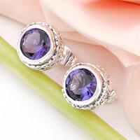 Wholesale Top Gemstone Earrings - Top Fashion Special Offer Stud Women's Party 925 Sterling Silver Jewelry Swiss Blue Topaz Gemstone Earring free Shipping Le0483