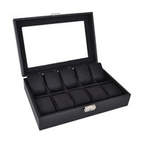 Wholesale Knitted Leather Watch - 10 grids watch display box storage black Knitted Crafts CHINA TOP Quality&Brand Recommended