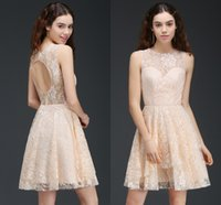 Wholesale Simple New Dress For Girls - Full Lace New Designer Short Prom Dresses Jewel Neck Sexy Open Back Sweet Cocktail Dresses for Girls Sweet 15 Homecoming Dress CPS670