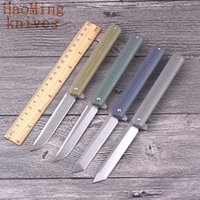 Wholesale Rescue Survival Knives - Portable camping survival hunting folding knife outdoor rescue tactical fishing combat flip Knives D2 steel Self-defense titanium EDC tools
