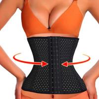 Wholesale Cheap Waist Slimming Corsets - 3Rows hooks women slimming Cheap body shaper Bustier belt fashion 4 steel boned waist training corsets black Plus size Shapewear