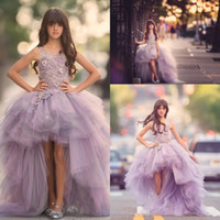 Wholesale Luxury Purple Flower Girl Dresses - 2016 New Lovely Luxury Lavender Organza Flower Girls Dresses High Low Lace Appliques Top Ruffles Skirt Girls Pageant Gowns Kids Formal Wear