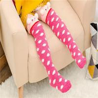 Wholesale fleece baby socks - Kids Lovely socks Christmas Baby Boy Girl Leg Warmers stocking Soft Fleece Socks suitable for 4-10 Y