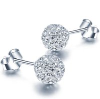 Wholesale Crystal Ball Earrings Sale - Silver Stud Earrings Hot Sale Austrian Shamballa Ball Earrings for Wedding Party Fashion Jewelry Wholesale Free Shipping 0005WH