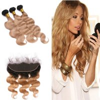 Wholesale Extensions 27 Weft - Dark Root 1B 27 Ear To Ear Frontal With Ombre Hair Extensions Body Wave 1B 27 Hair Weft 3 Bundles With Lace Frontal