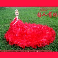 Wholesale Linen Lace Wedding Dresses - Bobbi doll wedding bride wedding dress big tail ornaments 3D real eye gifts for children