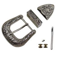 """Wholesale Antique Silver Belt - Wide Belt Western Antique SilVer Engraved Belt Buckles Set 1-1 2"""" 38MM + Screw"""