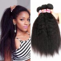 Wholesale Kinky Hair Extensions Sale - Hot Sale Brazilian Kinky Straight 3Bundles 300g #1B 6A Unprocessed Virgin Hair Extension Brazilian Kinky Straight Human Hair Weave Bundle