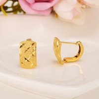 Wholesale Twisted Gold Plated Hoop Earrings - 2pairs New Fashion Jewelry Geometric Ethiopia african gold Hoop Earrings for Women Gold girls Twisted Cross Earring kids gift