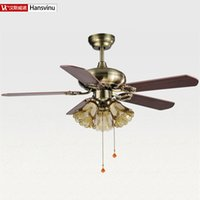 Wholesale Chinese Ceiling Lights - Wholesale-wood iron -chinese Bronze color modern quiet ceiling fans with E27 lights 108cm shipping without lamps, tea color lampshade