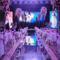 Wholesale plastic cake plates - New Arrival 1.2m Wide 10m lot Shiny Wedding Centerpieces Decor Runner Aisle Silver Plastic Mirror Carpet DHL Free Shipping