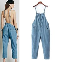 Wholesale Loose Fit Jumpsuit - BF Style Denim Jumpsuits Spring 2016 Women Sexy Backless Halter Neck Zippered Overalls Loose Fit Free Shipping