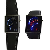 Wholesale Led Fan Watch - Creative Watches LED Digital Date Beautiful Fan Style 29 Red Blue Mens Lady Wrist Watch Black Innovative Electronic Product Gifts