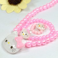 Wholesale Wholesale Kitty Ring - 2016 Hot Sale Hello Kitty Children Jewelry Set Hello Kitty Necklace & Ring & Earring Kids Set Pink and White for Girls Gifts Free Shipping