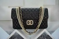Wholesale Pearl Envelopes - Hot sale high quality brand Pearl decoration New Fashion style Vintage Women Pearls Beaded Ring Handbags Shoulder Black gold chain #39011