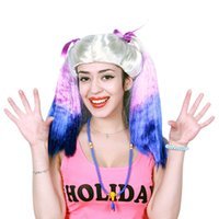 Wholesale Cheap Colored Hair Dye - DHL free ship COS Anime Cosplay Wigs Dyeing long curls Synthetic Hair Wig Party stage Cosplay Colored Christmas Halloween Costume cheap Wigs