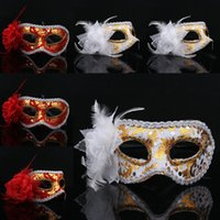 Wholesale Cosplay Costume Red - Halloween Plastic Masks for Adult Fashion Side Flower Wrap Cloth PVC Lady Masquerade Venetian Dance Party Mask Cosplay Costume Patch