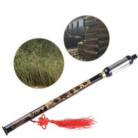Wholesale Pipe Tunes - Wholesale- Chinese Ethnic Instrument Black Bamboo Bawu Pipe BaWu Flute Tune G Detachable Wind & Woodwind Band & Orchestral Flutes