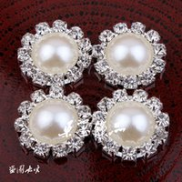 Wholesale Clothing Accessories Beads Pearls - 30pcs 2 Colour New Hot Alloy Pearl Diamond Buckle With Bead For Headdress Hair Clothing Accessories Free Shipping
