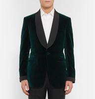 Wholesale Men S Grooming Set - 2016 Custom Made Velvet Dark Blue Satin Lapel Groom Tuxedo Wedding Suits For Men 3 pieces set(Jacket+Pants+Bowtie)