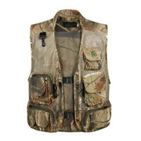 Wholesale Outdoor Camouflage Vest - Summer Camouflage Men Mesh Hunting Vest With Pockets Army Green Sleeveless Outdoor Photographer Clothes Male Vest