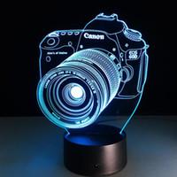 Wholesale Ce Camera - 2017 Camera 3D Optical Lamp Night Light 10 LEDs Night Light AA Battery DC 5V Colorful 3D Lamp