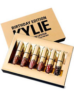 Wholesale Gold Liquid - makeup Gold Kylie Jenner Birthday Holiday Edition Lip Kit Matte Liquid Lipsticks Lipstick Lip Kit Lip Gloss Cosmetics Set Lipgloss 6pcs set
