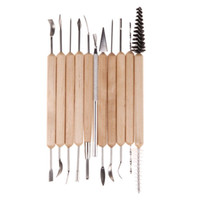 Wholesale Wax Carving Set - 120set 11pcs set Clay Sculpting Sculpt Smoothing Wax Carving Pottery Ceramic Tools Polymer Shapers Modeling Carved Tool Wood Handle ZA0710