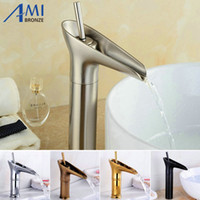 Wholesale Gold Waterfall Mixer Taps - Wholesale- Basin Faucet Brass Hot Cold Mixer Basin Tap Big Waterfall Faucets Antique Gold Black Chrome  Nickel Brushed 9033 9034