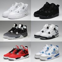 Wholesale Cheap Military Shoes - Cheap Men Retro 4 Basketball Shoes lab Fire White Cement CAVS Military Blue Cement Grey Black Cat Pure Mars Thunder Trainers Boots Sneaker