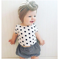 Wholesale Wholesale Tutu Women Plus - 2016ins explosion models children's clothing men and women baby summer short-sleeved T-shirt suit   striped T plus girls Polka Dot Shorts