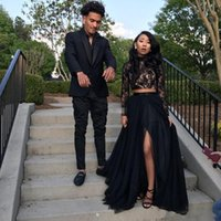 Wholesale Two Train - Two Piece Black Prom Dresses with Lace Long Sleeve A-Line Tulle Side Split Evening Party Gowns galajurken