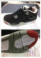 Wholesale Cheaper Basketball Shoes - Release Men Cheaper New Retro 4 IV Retro Bred Black-Cement Grey-Fire Red Sneaker For Men Sports Basketball Shoes XIII Discount
