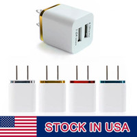 Wholesale Cell Phone Wall - High Quality 5V 2.1 1A Double US AC Travel USB Wall Charger for Samsung Galaxy HTC Cell Phones Adapter