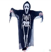 Wholesale Kids Skeleton Costumes - Theme Costume Skeleton Ghost Costume Party Costumes Halloween Kids Adult Performance Set Creative Cosplay Dress Costumes
