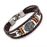 Wholesale Coin Leather Bracelet - 2016 Newest Navy Anchor Coin Bracelets Handmade Multilayer Beads Leather Bracelets Friendship Bangles Fashion Couples Cuff Charm Bracelets