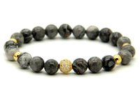 Wholesale Black Circle Picture - 1PCS High Grade Jewelry 8mm Grey Picture Jasper Stone Beads Micro Pave Black and Gold CZ Beads Bracelets Mens gift
