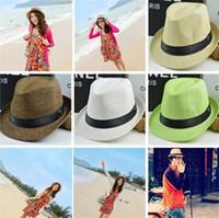 Wholesale Wholesale White Straw Cowboy Hat - Newest Vogue Men Women sun caps Straw Hats Soft Fedora Panama Straw Hats Outdoor Stingy Brim hats 6 Colors Choose 4111