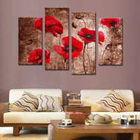 Wholesale Wall Hanging Decoration Piece - Amosi Art-4 Pieces Red Poppy Flower Painting Print on Canvas Paintings Floral Wall Art for Home Decoration with Wooden Framed Ready to Hang