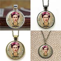 Wholesale Glass Background - 10pcs Frida Kahlo Feminists Artist Jewelry pink background Art Pendant glass Necklace keyring bookmark cufflink earring bracelet