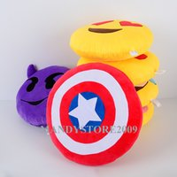 Wholesale Captain America Shield Pillow - Round Shape Captain America Cushion New The Avengers Movie 36cm Captain America Attack Shield Plush Cushion Head Cushion Shield Pillow 14""