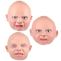 Wholesale Baby Face Mask Adult - Latex Disgusted Happy Cry Baby Costume Mask Halloween Full Head Party Masks for Carnival Christmas Joke Free Shipping