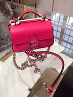 Wholesale Summer Messenger Bags - New listing 2016 new spring and summer Lingge Messenger bag small fragrant wind temperament buckle chain mini shoulder bag