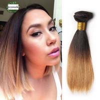 Wholesale Short Straight Hair Extensions - Cheap 1b 27 30 Ombre Brazilian Virgin Straight Hair 3 Bundles Short Ombre Blonde Bob Human Hair Weave 2 Tone Hair Extensions