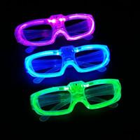 nuevo led dj al por mayor-2016 Halloween Nuevo Led Luz Fría Gafas EL Wire Glowing Flash Gafas Intermitentes Gafas Fluorescence Party Glasses DJ Party Props E1325