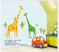Wholesale Giraffe Baby Rooms - 100pcs ZY7035 Cartoon zoo giraffe family art Kids room decor baby bedroom decor home decoration home decal AY7035. wall stickers art 2.0